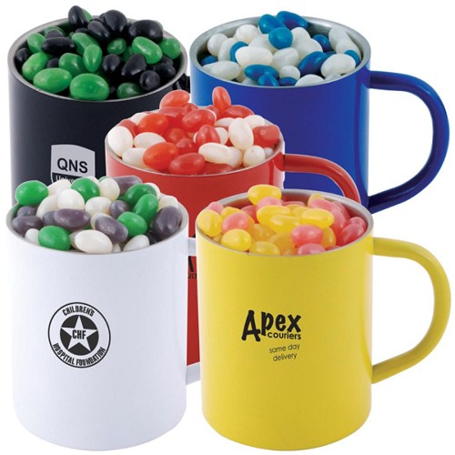 Corporate Colour Mini Jelly Beans in Stainless Steel Coloured Double Wall Barrel Mug - Includes a 1 colour printed logo