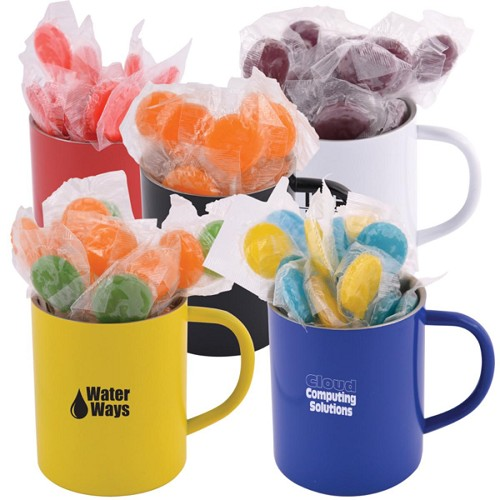 Corporate Colour Lollipops in Stainless Steel Coloured Double Wall Barrel Mug - Includes a 1 colour printed logo