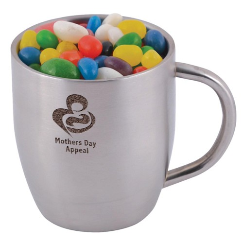Assorted Colour Mini Jelly Beans in Stainless Steel Double Wall Curved Mug - Includes laser engraving logo