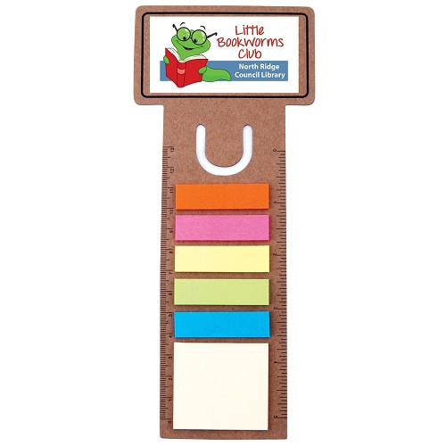 Business Card Bookmark / Ruler with Noteflags - Includes a full colour logo