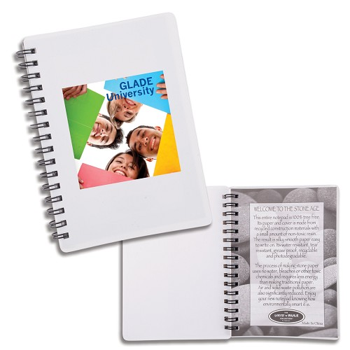 Discovery Stone Paper Notebook  - Includes a 1 colour printed logo