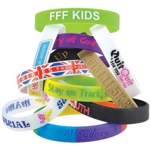 12mm Wide Silicone Wrist Band - Includes debossed logo