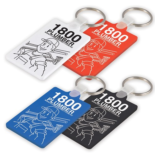 White Rectangular Soft PVC Keytag - Includes a 1 colour printed logo