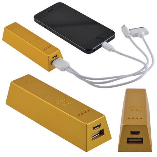 Gold Bar Power Bank - Includes a 1 colour printed logo