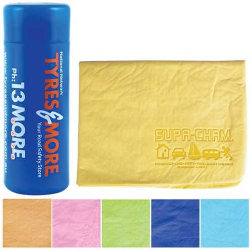Debossed Supa Cham Chamois / Body Towel in Tube - Includes 1 Pos Debossed Chamois & 1 Pos 4CP Deluxe Label on Tube