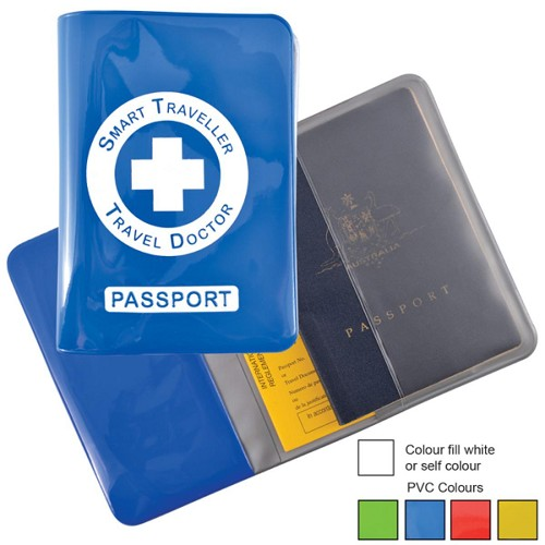 Shiny PVC Passport Wallet - Includes a 1 colour printed logo
