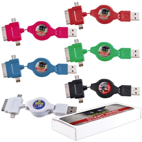 Zippy 3 Way Cable - Includes full colour logo