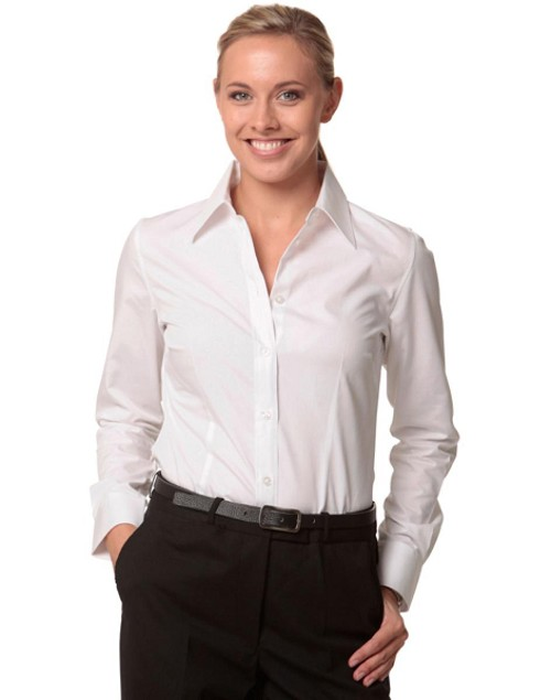 Women's Cotton/Poly Stretch L/S Shirt, From $26.1