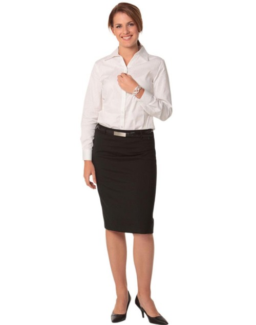 Women's Mid Length Lined Pencil Skirt in Wool Stretch, From $39.1