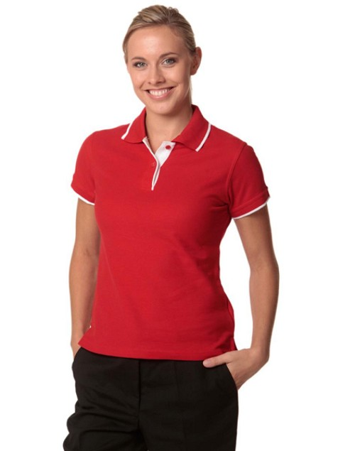 ladies contrast poly/cotton pique