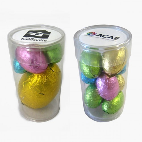 Pet Tube filled with Easter Eggs - Includes a full colour label