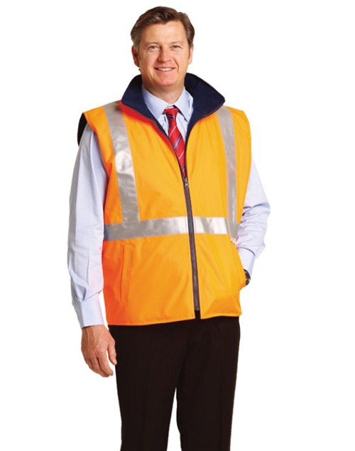 Hi-Vis Reversible Safety Vest With X Pattern 3M Tapes